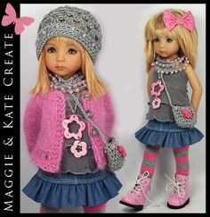 US $480.00 New in Dolls & Bears, Dolls, Clothes & Accessories. Chaqueta y gorro punto. Falda vaquera fruncida.