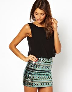 TFNC Dress With Blouson Top And Sequin Skirt Get 7% cash back at http://www.studentrate.com/all/get-all-student-deals/ASOS-Student-Discount--/0