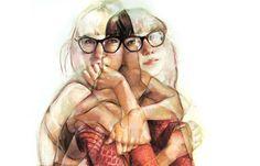 Juxtapoz Magazine - Jane Radstrom's Multiple Exposure Inspired Paintings - [ ideia pro tcc - o encontro entre as duas ações é pintada mais forte. Eu me controlo > o que prova isso é o movimento > encontro das ações pintado completo = simboliza a consciencia no sono]