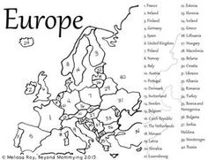 FREE Printable map of Europe for kids to match or fill in the countries: