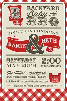 PRINTABLE  Couples BBQ  Baby Shower Invitation   by UrbanFrontiers, $12.00