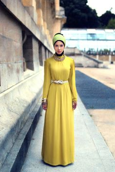 Love the color #yellow #hijabi #style #fashion #maxidress