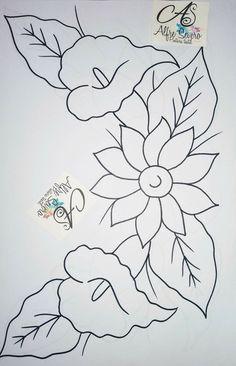 Flores Flower Pattern Drawing, Flower Art Drawing, Pattern Art, Hawaiian Quilt Patterns, Hawaiian Quilts, Floral Embroidery Patterns, Hand Embroidery Designs, Flower Phone Wallpaper, Art Drawings For Kids