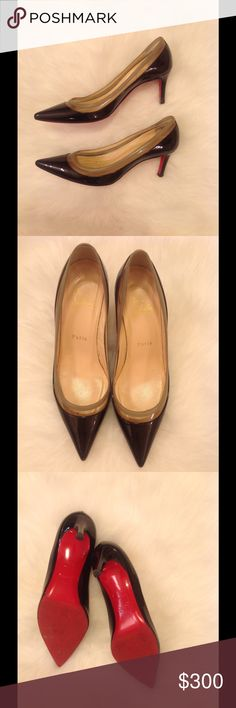 Christian Louboutin Heels Christian Louboutin Heels in black patient leather with nude leather edging. Normal wear and soles have been partially resoled Christian Louboutin Shoes Heels