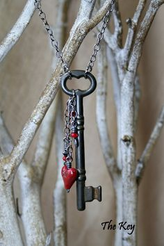 Red Heart Necklace - Antique Skeleton Key Necklace - Charm Necklace