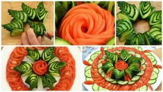 Salad Decoration Ideas, Food Garnishes, Flower Plates, Cucumber, Carrots, Watermelon, Decorative Plates, Make It Yourself, Fruit