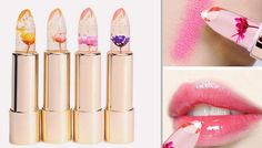 Magic Flower Jelly Lipsticks - 4 Flower Colours Make-up is an art...paint on the prettiest pout with theseFlower Jelly Lipsticks      Choose from red, pink, yellow or purple delicate real flowers within each lipstick      All lipsticks are the same subtle pink shade that works well with any skin tone      Each one appears transparent and features gold flecks and a beautiful real flower     ...