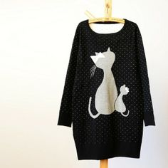 jacquard cat pullover sweater
