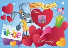 Wens jouw Valentijntje een Gelukkige Valentijn met een superlief gepersonaliseerd kaartje: jouw foto en naam staat erop!  En dit helemaal gratis!  Surf snel naar: http://spelletjes.ik.be/kaartje/valentijn.html .