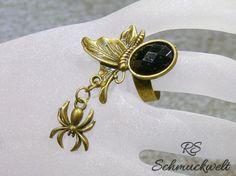 Messing Ring antik Spinne Schmetterling schwarzer Cabochon einstellbar Anhänger…