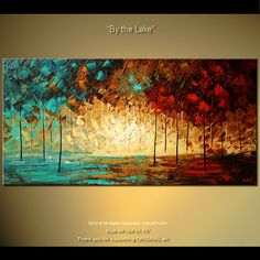 Original Palette Knife Painting Abstract Landscape by osbox, $390.00