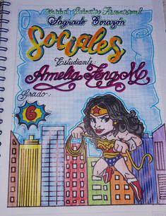 mujer maravilla Grammar Book, School Ideas, Comic Books, Lettering, Education, Cover, Craft, Decorated Notebooks, School Notebooks