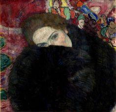"salantami: "" Gustav Klimt (1862-1918) Austrian painter. He was the most representative figure of jugendstil pictorial modernism. Dame mit Muff (Lady with a Muff) 1916 National Gallery in Prague """
