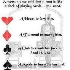 Uma vez uma mulher fez um comparativo entre poker e homens.