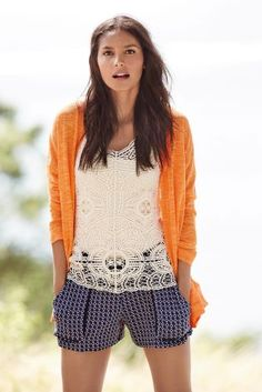 Linen Mix cardi w/crochet vest and navy print shorts