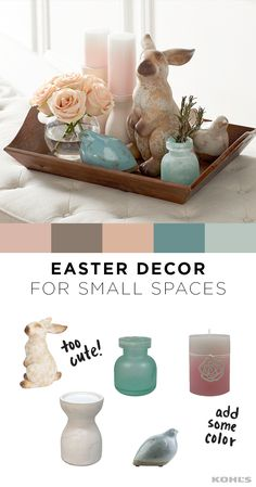 Even if you don't have a lot of extra room in your apartment or small space, you can still decorate for spring and Easter. We love the idea of decorating a single tray or shelf to keep the rest of the space uncluttered. Add items of different heights and colors for interest and top it off with fresh flowers or greenery. Celebrate spring with Kohl's.
