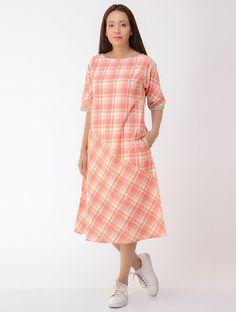 Orange-Ivory Cotton Dress with Pockets