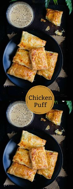 Snacks Recipes Chicken puff- snack, uses Indian spices like Garam masala Chicken And Pastry, Chicken Puffs, Chicken Snacks, Bbq Chicken, Chicken Salad, Chicken Wings, Appetizer Recipes, Snack Recipes, Dinner Recipes