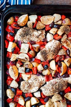 "Easy Sheet Pan Greek Chicken | ""This was fantastic! My family LOVED it!!"" #easy #easyrecipes #quickandeasy #easyrecipesideas #dinner #supper #sheetpandinner #easydinnerideas #sheetpansupper #easysupperideas Baked Greek Chicken, Greek Chicken Recipes, Veggie Recipes, Cooking Recipes, Skillet Recipes, Mediterranean Diet Recipes, Mediterranean Dishes, Sheet Pan Suppers, Main Dishes"