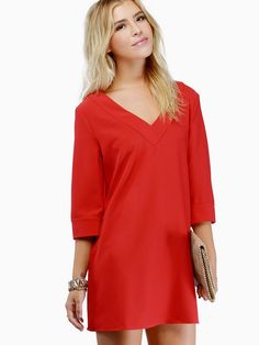 63725647febac Shop Red Three Quarter Length Sleeve V-neck Shift Dress online. SheIn  offers Red Three Quarter Length Sleeve V-neck Shift Dress   more to fit  your ...