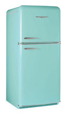Elmira Stove Works Nothstar retro refrigerator, model 1952 in robin's egg blue (aka classic aqua). Retro Refrigerator, Retro Fridge, Mini Fridge, Vintage Fridge, Vintage Kitchen, Home Design, What Colors Represent, Major Kitchen Appliances, Kitchen