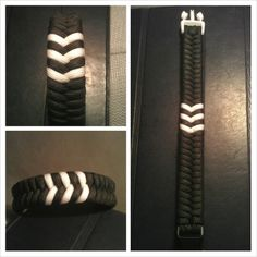 Black/White Wide Switchback #paracord #bracelet