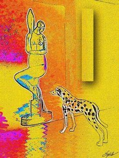 """""""Dalmatian Watching Maiden In Brecheret Fountain"""", by Sylok. -  http://www.pinterest.com/ssylok/sylok-art/"""