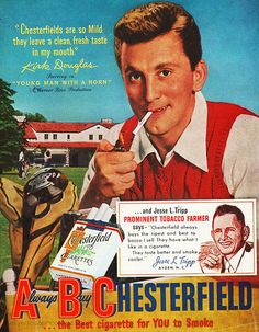 1950s Ad for Chesterfield Cigarettes - 'A Smoking Kirk Douglas Tees Off '