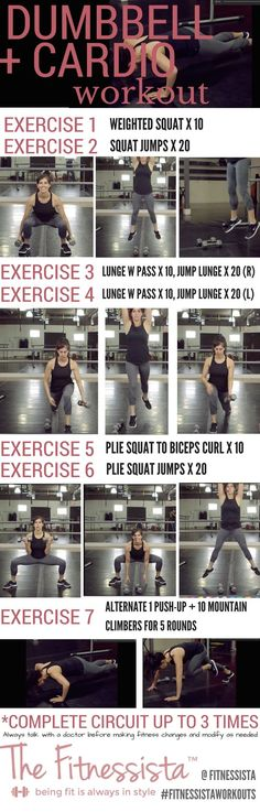 This is a total body strength and cardio workout using only a pair of dumbbells and your own body weight. Watch the quick how-to video, and save for your next gym session! Perfect for a quick and sweaty workout. fitnessista.com