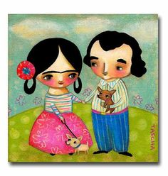 ORIGINAL Frida Kahlo and Diego with two CHIHUAHUA dogs by tascha