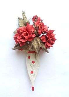 Leather branch of red roses in the umbrella от DreamsAboutSummer