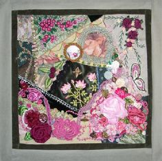 I ❤ crazy quilting & ribbon embroidery . . . CQI Roses RR- Gerry K's block. Have a seat and enjoy! After Cobi's Block completed, after Debbie S's stitching. Gerry added the finishing touches to her block, here is the finished product.