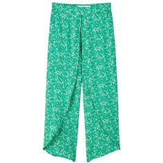 Mango Flowy Printed Trousers , Green ($44) ❤ liked on Polyvore featuring pants, green, wide leg trousers, elastic waistband pants, crop pants, green wide leg pants and stretch waist pants