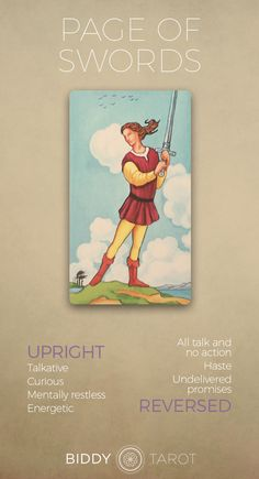 Page of Swords Tarot Card Meaning Click to learn more! biddy tarot, tarot card description, page of swords meaning, meaning for page of swords, suit of swords