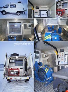 Лебедка исследовательская ЛИС-Э с приводом от автономного источника питания (электростанции) на базе автомобиля ГАЗ 27257 Соболь.  Подробнее по ссылке: http://ecolite-st.ru/gaz-27527.html