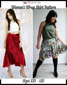 The Women's Wrap Skirt Pattern will have you making a statement everywhere you go!  It features a short or long length with side ties and hidden button closure.  This skirt is perfect for casual wear or to dress up for a special occasion.  Sizes: This PDF sewing pattern comes in sizes XXS - 5XL.   Fabric Recommendati