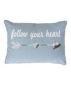 Look what I found on #zulily! Tourmaline Silver Sequin 'Follow Your Heart' Arrow Throw Pillow #zulilyfinds
