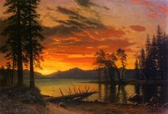 "Albert Bierstadt -  ""Sunset over the River"""