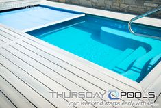 Thursday Pools hit the spot with this small fiberglass pool design known as the Sea Turtle. This flat bottom pool is 10x20 and is an ideal garden pool. Adding a Badu Swim Jet system or Spa Jets in the seating areas can kick this fiberglass plunge pool up a notch.