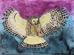 'Flying Owl' by Jeanne Fischer - http://fineartamerica.com/featured/flying-owl-jeanne-fischer.html #jeannefishcer #watercolor