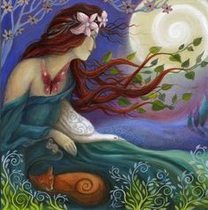 "Habondia. Goddess art print by Amanda Clark  (Anglo-Celtic) [Hahb-OEN-dee'uh] Also Abondia, Abunciada, and Habonde. She was a Goddess of abundance and prosperity, demoted to a ""mere witch"" in medieval English lore in order to strip her of her great power in the minds of the rural folk who depended upon her benevolence for their crops and herds.    She is descended from a Germanic Goddess of the Earth."