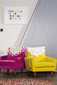 """Craft-inspired interiors   - 'Loving You Is Easy' artwork by Rachel Castle, from Koskela.  - Velvet armchairs in Pink and Yellow, both from Edit.  - Frosta rug crochet kits (both stitched by stylist), from Nordic Designs.  - Hay 'Pinocchio' hand-knotted wool rug, from Corporate Culture.  Personally, I'm not so sure about the """"doilies"""" but I LOVE the rug, want to make the artwork and love the retro chairs covered in bright colours"""