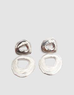 leigh miller | white bronze double whirlpool earrings