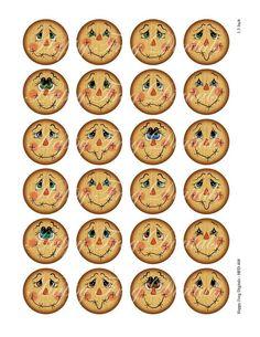 Scarecrow faces  Set 1  12 14 16 18 20 mm circles  image 1 Halloween Wood Crafts, Scarecrow Crafts, Scarecrow Wreath, Fall Crafts, Fall Halloween, Holiday Crafts, Scarecrows, Halloween Ornaments, Scarecrow Painting