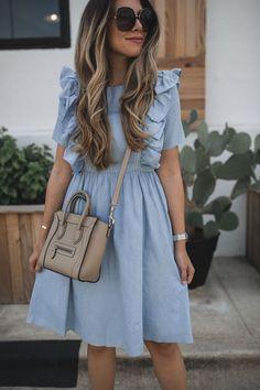 fashion dresses A Ruffled Chambray Dress - fashion Modest Dresses, Simple Dresses, Pretty Dresses, Casual Dresses, Elegant Dresses, Sexy Dresses, Formal Dresses, Modest Wear, Church Dresses
