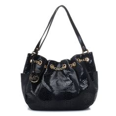 "Michael Kors Jet Set Chain Ring Tote Python-Embossed Black  Products Description * Black python-embossed patent leather. * Golden hardware. * Shoulder straps. * Hanging MK circle logo charm. * Open side pockets. * Chain detail cinches grommet top. * 17""H x 11""W x 3""D"