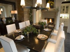Dining room with fire place