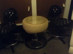 Handmade hydraulic roped tire table & chairs!! Compliments of Abc salon!!