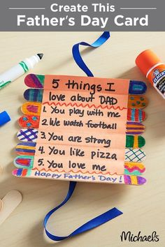 Show off what you love about Dad this Father's Day with a Craft Stick Roll-Up Card. This simple project is perfect for small children to make and comes together in just a few simple steps. Find everything you need for this project at your local Michaels store and make this Father's Day gift one to remember.