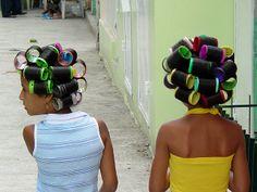 | Young Girls with Hair Curlers - San Jose de Ocoa - Dominican Republic ...